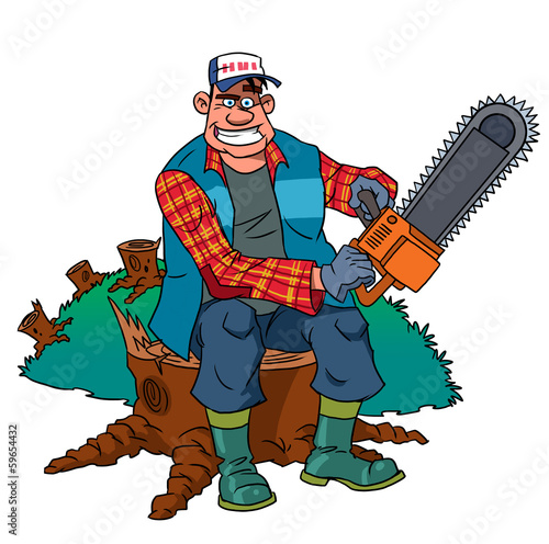 Lumberjack worker with chainsaw at forest
