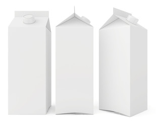milk cartons isolated on white background