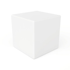 white 3d cube isolated on white background