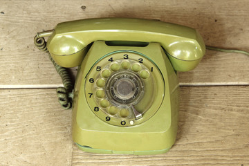 green vintage telephone