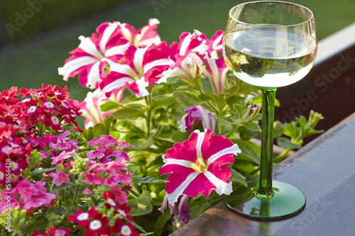 Wine glass with beautiful flowers