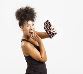 Woman eating chcolate