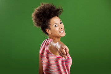 African woman pointing somewhere