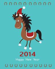 Christmas card with fun horse. Vector