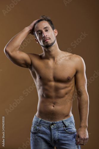 handsome shirtless male model