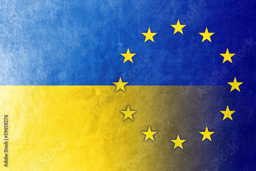 EU and Ukraine Flag painted on leather texture