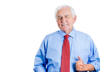 senior, mature, happy, smiling  business man giving thumbs up