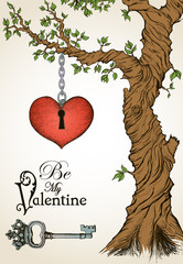 Valentine card with a heart hanging on tree and antique key