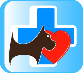 veterinary icon with cute dog, medical cross and heart