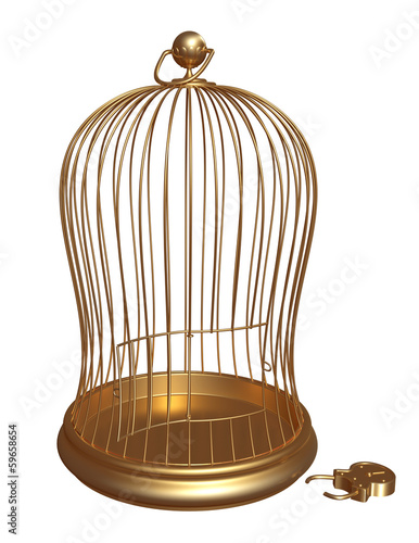 Public golden cage with open locks
