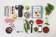 Organized objects of a foodie girl.