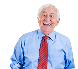 Happy, laughing old business man