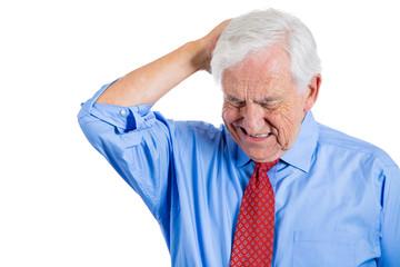 Senior executive, old man troubled, worried thinking