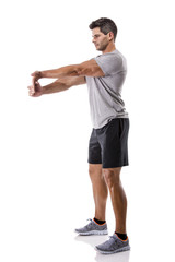 Athletic man doing exercises