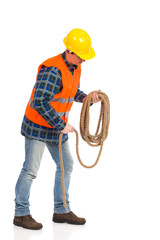 Construction worker bundle rope.