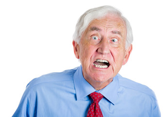 Portrait old man, angry corporate executive screaming