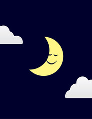 Moon character sleeping with clouds