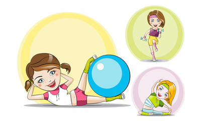 Set Vector collection sports fitness girls