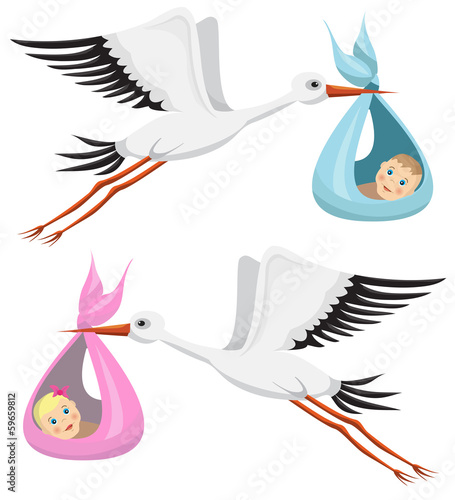 Storks with boy and girl
