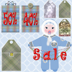 Baby clothes sale tags with percentages