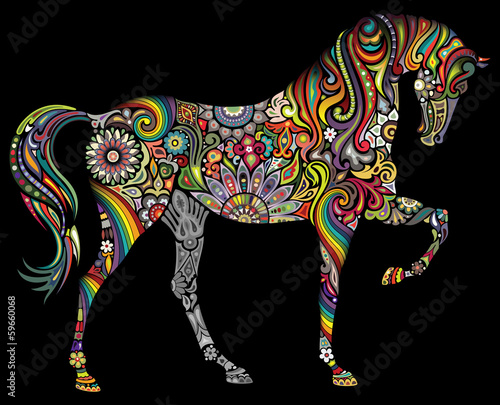 A horse and a rainbow on a black background.