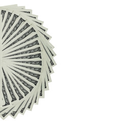 Several 100 US $ money notes spread out in fan shape
