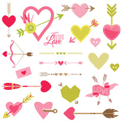 Love, Heart and Arrows Set - for Valentine's Day - in vector