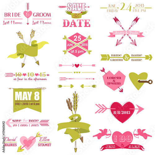 Valentine and Wedding Graphic Set - Arrows, Feathers, Heart