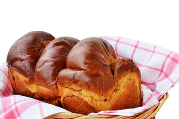 Sweet braided bread in a basket