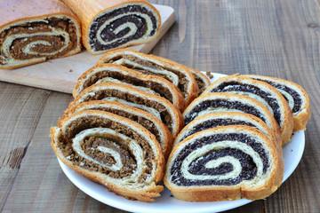 Sliced poppy seed and walnut rolls