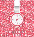 Sale design with alarm clock and percent background