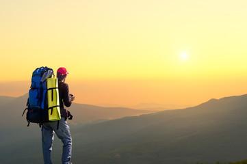Tourist on the mountain top.