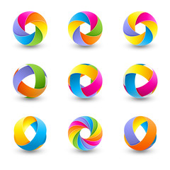 Set оа abstract  round vector design element