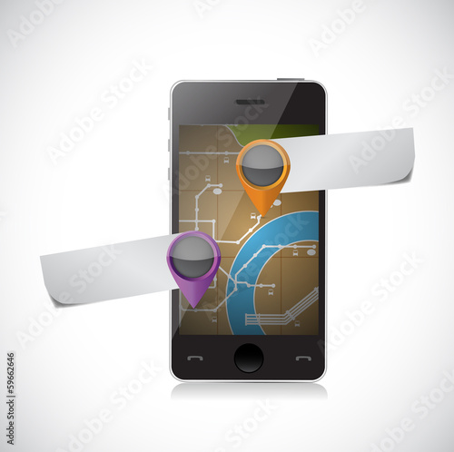 phone gps map and pointer illustration