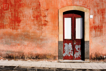 old wall with door