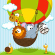 animals traveling by balloon - vector ilustration