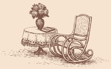 Vector drawing comfortable rocking chair near the round table