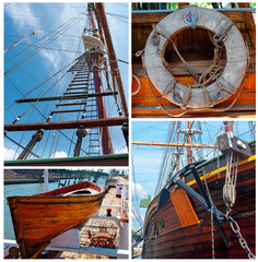 Collage of details of sailing vessels