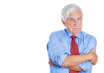 Portrait old guy, senior executive with disgust on his face
