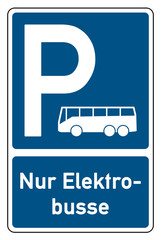 parksymbol parken nur elektrobusse mit bus-symbol