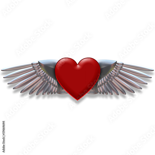 Heart with chromed wings illustration