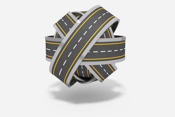 Ball of tangled roads