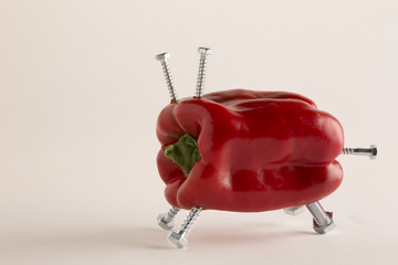 Frankenstein GMO food:  pepper with bolts
