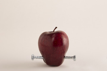 GMO frankenfood:  apple with bolts