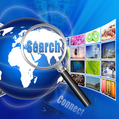 Search with  internet production technology concept