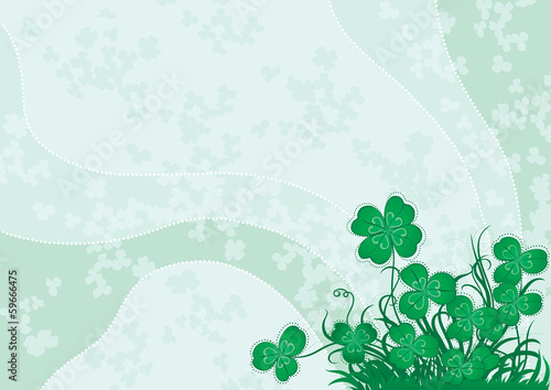 Vector background with green clover for St. Patrick's Day