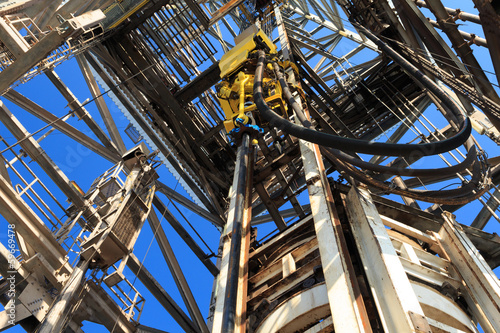 canvas print picture Top Drive System (TDS) Spinning for Oil Drilling Rig