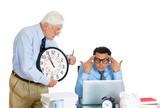 Conflict at work. Business men, generations. Subordination