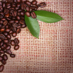Coffee Beans and Leaves on Burlap Background.