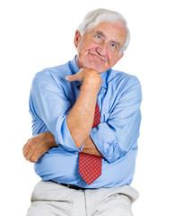 Senior executive, old man daydreaming, thinking
